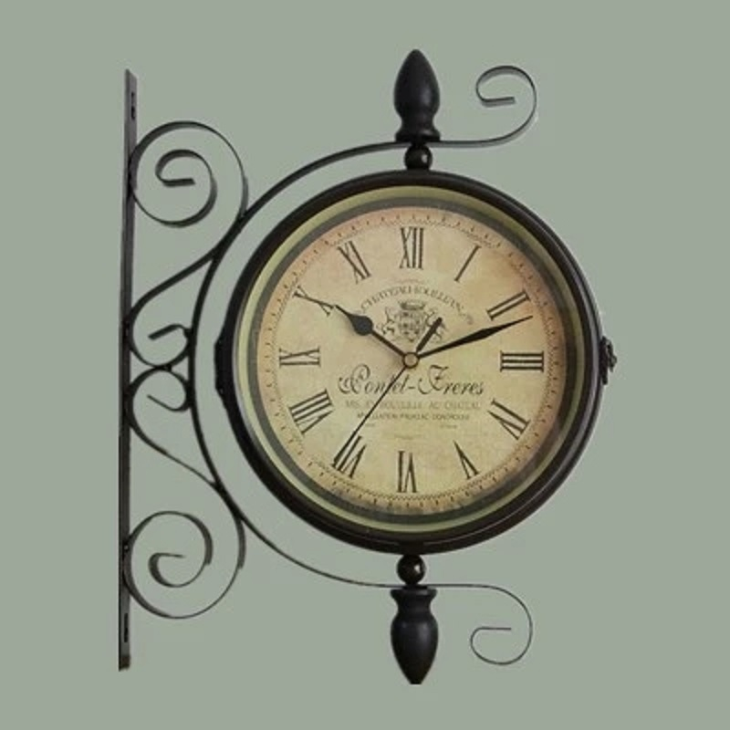 double sided wrought iron wall clock digital watch vintage. Black Bedroom Furniture Sets. Home Design Ideas