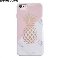 Luxury Marble Texture Geometric Splice Phone Cases For iphone 7 7Plus 6 6s case Cute Pineapple Soft IMD Glossy Back Cover Coque