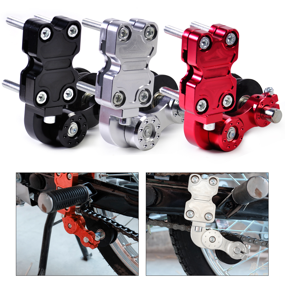 DWCX Universal Motorcycle Aluminum Chain Tensioner Bolt on Roller Adjustable for Motorcycle Dirt Street Bike Chopper Motocross motorcycle adjustable aluminum chain tensioner adjuster bolt on roller motocross dirt street bike atv for honda kawasaki yamaha