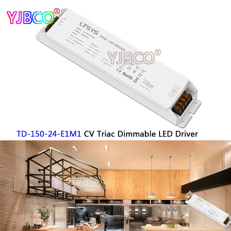 New LTECH intelligent led Driver TD-150-24-E1M1;150W 24VDC 6.25A constant voltage Triac Dimmable LED Driver kvp 24100 td 24v 100w triac dimmable constant voltage led driver ac90 130v ac170 265v input