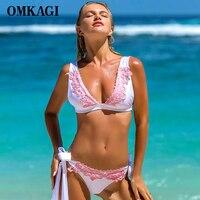 OMKAGI Brand Bandage Bikinis Set Swimsuit Swimwear Women Swimming Bathing Suit Beachwear Sexy Push Up Brazilian