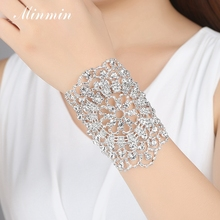Minmin Romantic Silver Color Charms Bracelet Women Rhineston