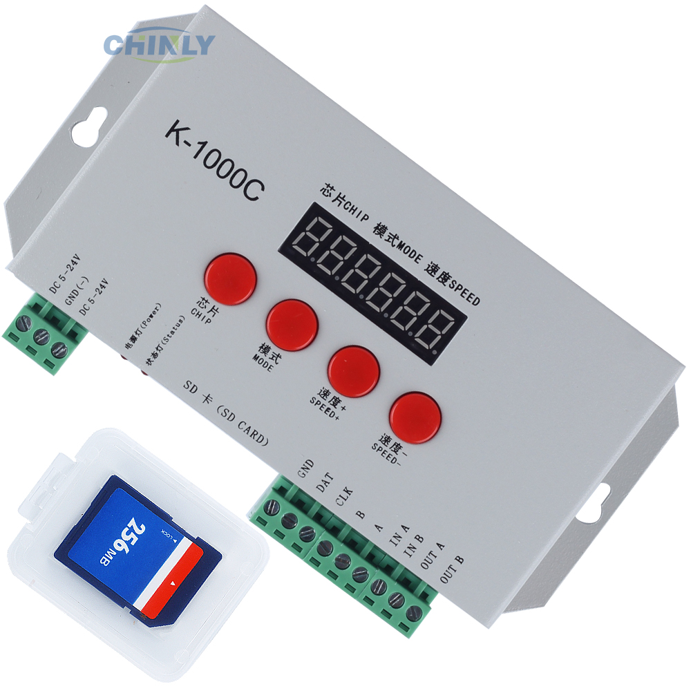 купить K-1000C RGB Pixel Controller for LPD6803 WS2811 WS2812b WS2813 SK6812 Pixels led strip light MAX control 2048pcs pixel DC5-24V онлайн