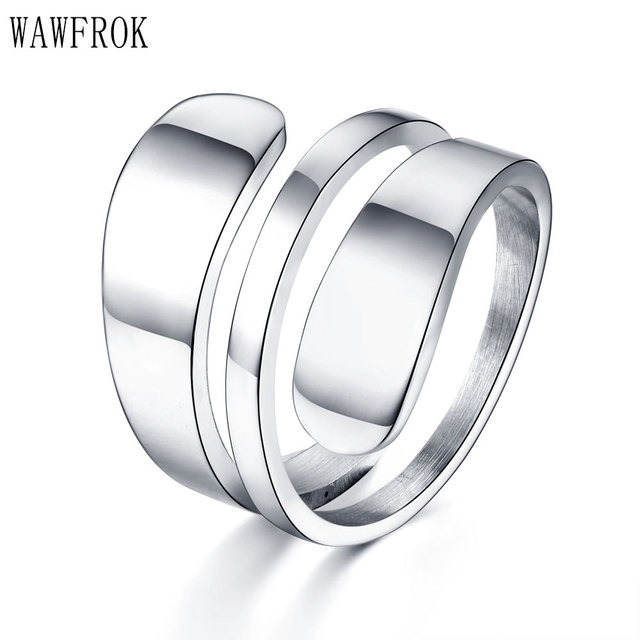 WAWFROK Stainless steel Rings For Women Crimped Ring 3 Row  Female Jewelry