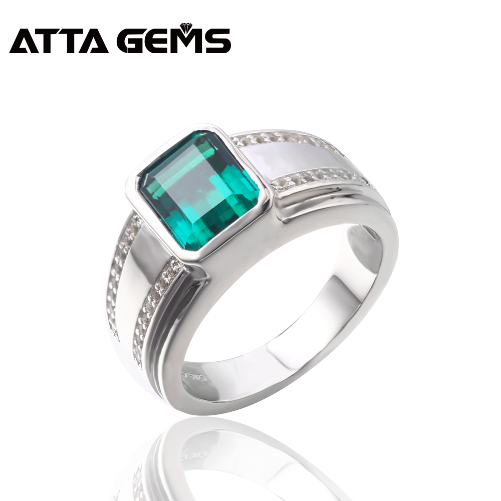 Green Emerald Sterling Silver Rings Men's Wedding Band Created Emerald Faced Cut Unisex Design Husband's Gift Top Quality Rings