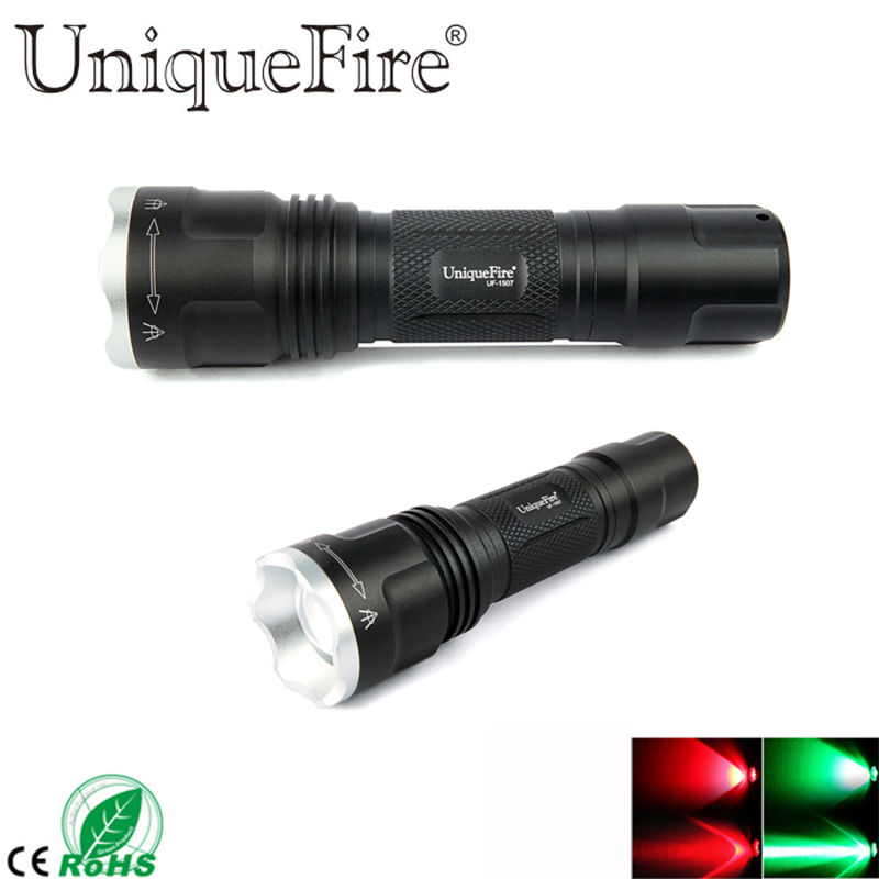 2017 New UniqueFire 3 Mode Small UF-1507 XRE Green / Red Light LED 20mm Convex Lens Zoomable Flashlight Lamp Torch For Hunting uniquefire 1508 67mm lens cree xpe green red white light led flashlight torch 3 mode zoomable for outdoor camping hunting
