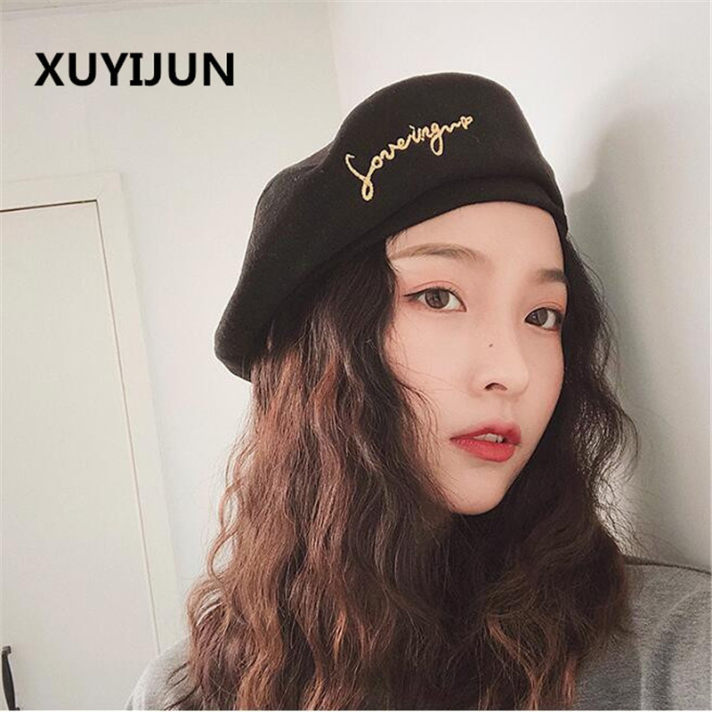 7c26057e5537 Xuyijun Autumn Winter Vintage Black Cute letter Embroidery Beret Women  Artist Cap Ladies Wool Hat Headwear Berets-in Berets from Apparel  Accessories on ...