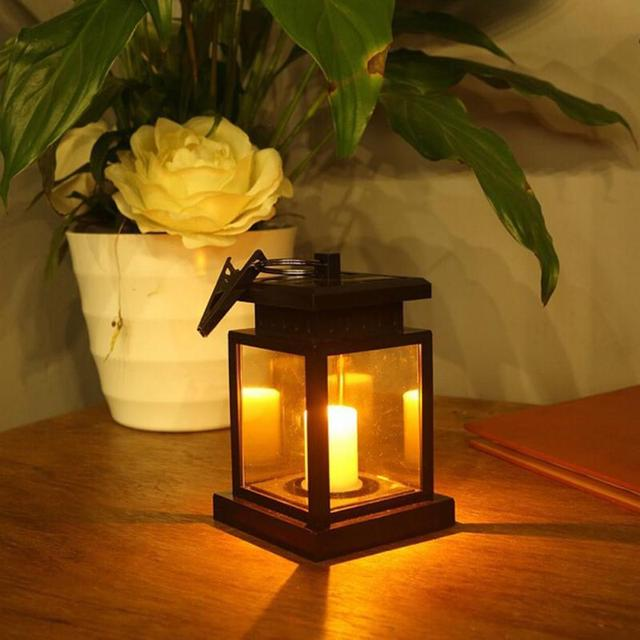 Outdoor Solar Ed Led Candle Lamp Table Lantern Hanging Light Garden Yard Retro