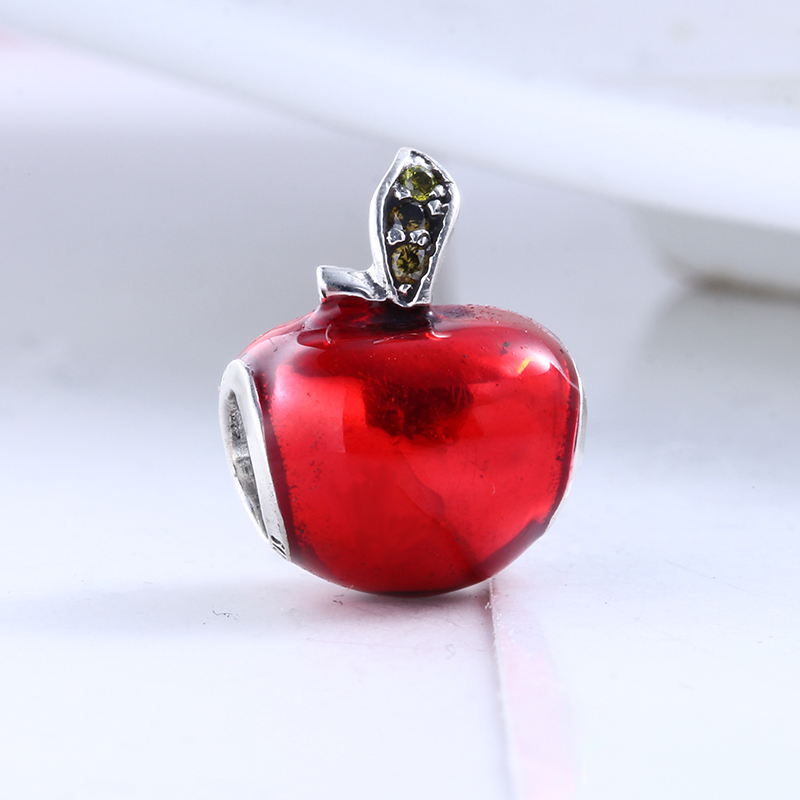New Real 100% 925 Sterling Silver Fit Original Pandora Bracelet Enamel Red Apple DIY Charms Beads for Jewelry Making Gift