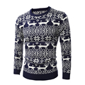 2016 Men'S Fashion Animal Print Sweater Men Leisure Slim Pull Homme O-Neck Long-Sleeved Sweater Solid Sweater Men