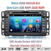 Topnavi Octa Core 7 S200 Android 8,0 Автомобильный мультимедийный dvd плеер для GMC аудио Радио стерео 2DIN gps навигации в тире