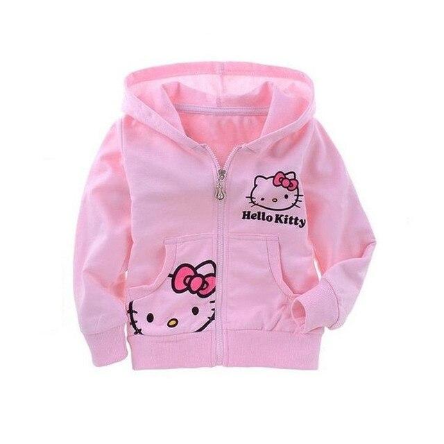 2016 Новая Мода Новорожденных Девочек Hello Kitty Толстовки Девушки Hello Kitty Пальто Хлопка Дети Обмундирования Осени 25D