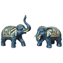 2pcs Nordic Stylish Couple Elephant Model Family Miniature Retro Design Resin Animal Statue Decoration Succulents Home