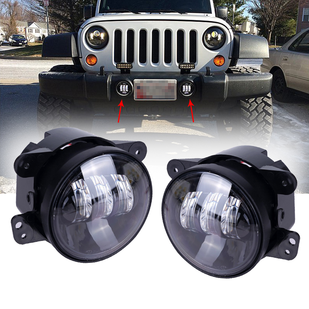 Lowest price ! 2pcs 4 Inch Led Fog Lights Headlight Projector lens LED fog Lamp For Jeep Wrangler Jk lowest price 2017 super price maxidiag md801 code reader scanner for obd1 obdii protocol free shipping