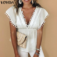VONDA Plus Size Women Tunic Sleeveless Blouse 2019 Summer Sexy Deep V Neck Blouses Tassel Solid Shirt Elegant Ladies Top Blusas