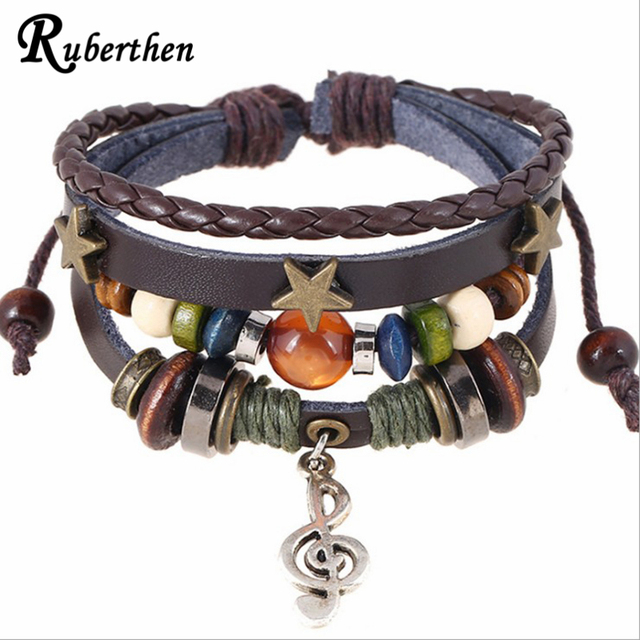 f67d91c14ba200 Ruberthen Fashion Punk Design Leather Bracelet Luck Goddess Leather Rope  Bracelet Music Note Charm Girl Bracelet