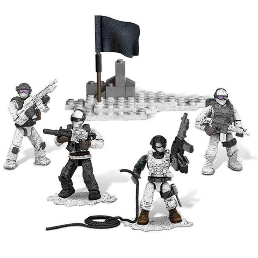 Simulation Snow leopard Commandos action figures building block Cross the snow peak scenes modern military weapon mega brick toy