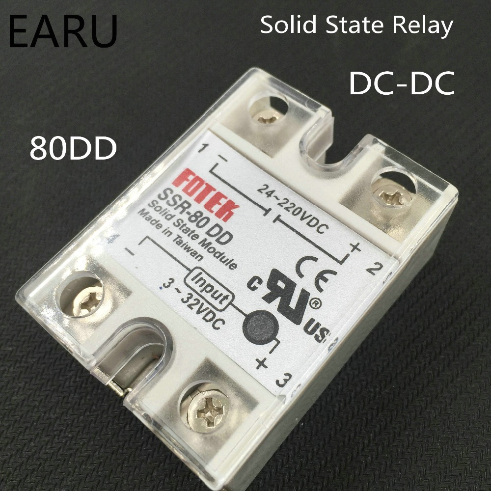 Подробнее о 1 pcs solid state relay SSR-80DD 80A 3-32V DC TO 5-60V DC SSR 80DD relay solid state good quality with Plastic Cover SSR-80 Hot 5 60vdc to 3 32vdc 60a ssr 60dd solid state relay module with plastic cover