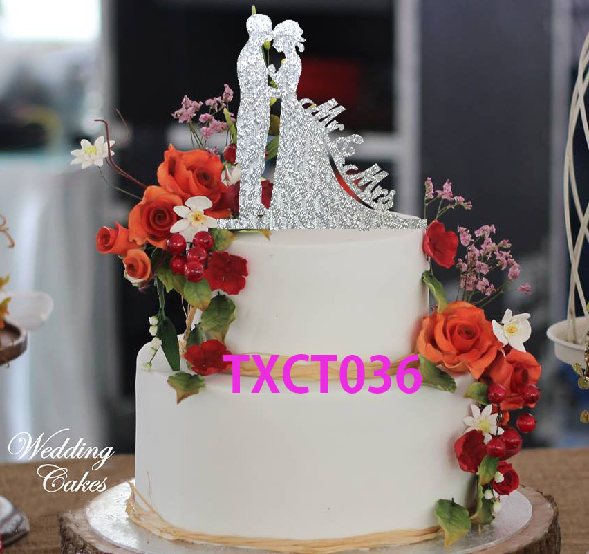Free Shipping Black Silver Gold Red Acrylic Mr Mrs Cake Topper
