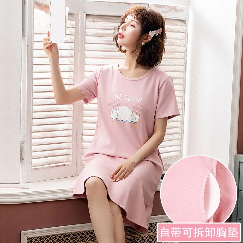 Yidanna Women Cute   Nightgown   Female Cotton Short Sleeved   Sleepshirt   Summer Sleep Clothing Lady Cartoon Nighty Print Sleepwear