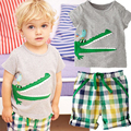 Baby boy clothes cartoon summer  short sleeve + plaid pants newborn baby clothing boy suit 2-6 years old