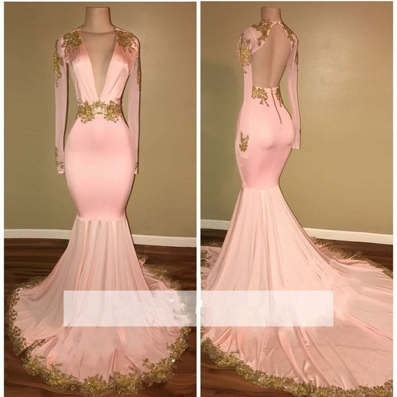 Pink 2018 Prom   Dresses   Mermaid Deep V-neck Appliques Lace Backless Party Maxys Long Prom Gown   Evening     Dresses   Robe De Soiree