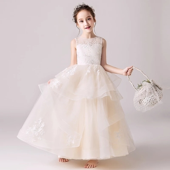 Summer New Children Girls Elegant Birthday Wedding Party Lace Flowers Long Prom Dress Kids Teens Luxury Host Piano Costume Dress