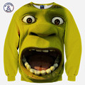 Mr.1991INC&Miss.GO 2017 New Men/women 3d Sweatshirt funny print big mouth Surprised face hip hop Sweatshirt tops pullover