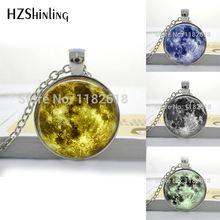 HZShinling Glass Round Necklaces 8 Different Blue Mint Green Moon Necklace Full Moon Jewelry Moon Pendant Lunar Space Moon HZ1(China)