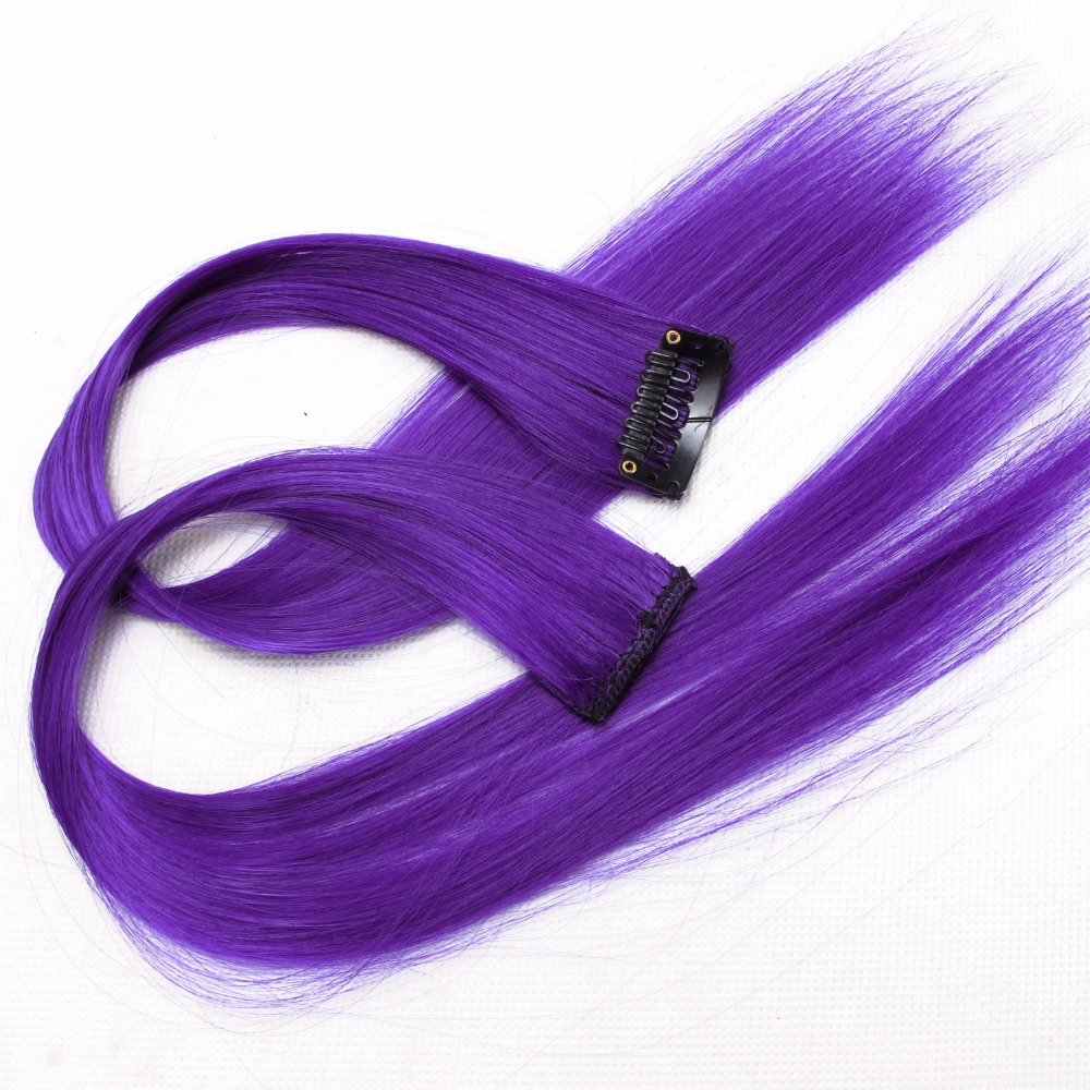 Colored Synthetic Hair Extensions Clips In One Piece Ombre Fake Purple  Long Straight Rainbow Hair Pieces Dream Ice's
