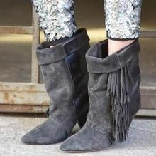 цены Women Autumn Winter Fringe Decoration Sexy Spike Heel Short Boots Slip On Pointed Toe Turn-over Dress Shoes High Quality
