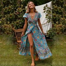 цена на Ruffle Short Sleeve V-neck Floral Printed Split Long Dress Women Boho Style Wrap Dress Summer Beach Dresses Long