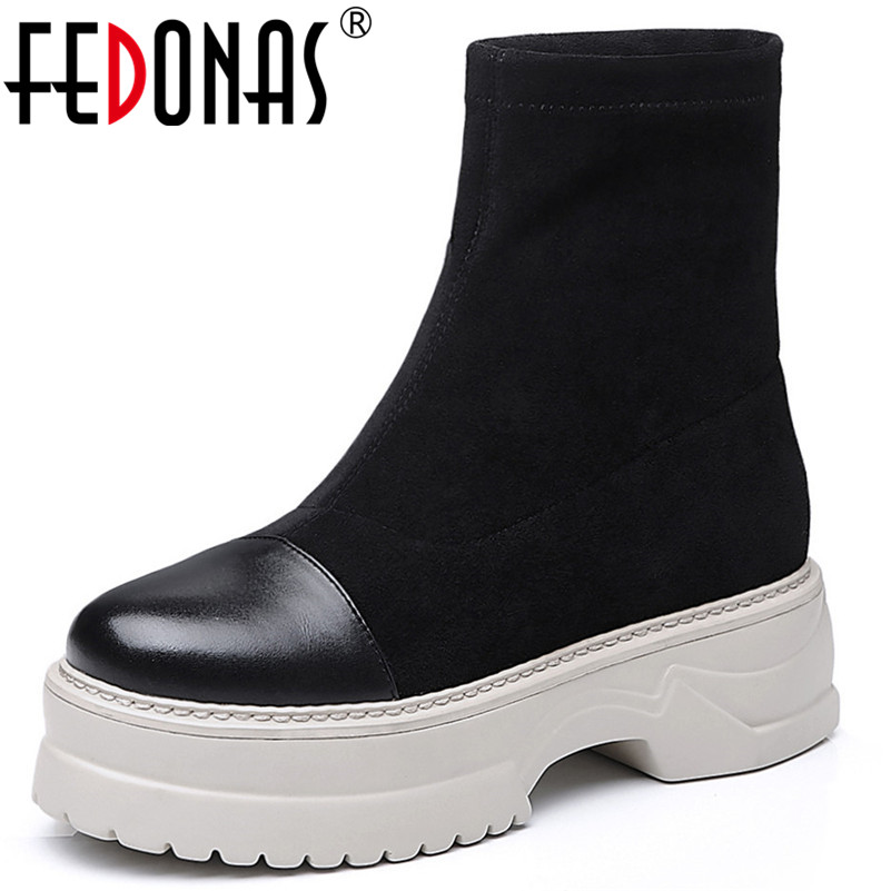 FEDONAS Punk Rock Women Ankle Boots Thick Heels Autumn Winter Martin Shoes Woman Platforms Night Club Basic Boots Ladies Shoes fedonas 2019 brand women buckles ankle boots thick heels autumn winter motorcycle boots platforms short martin shoes woman