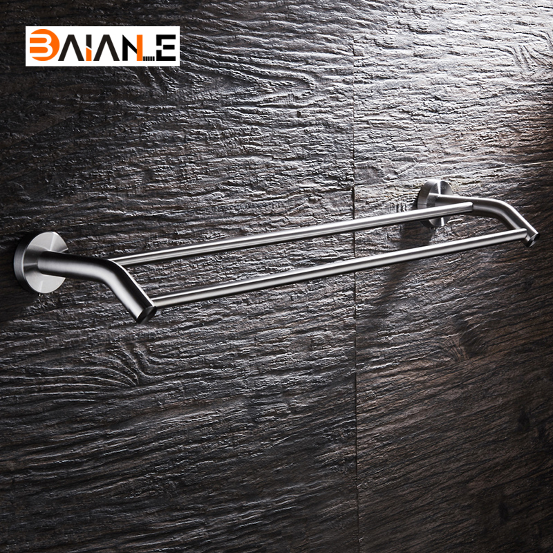Towel Bars Stainless Steel Towel Rack Wall-Mounted Bathroom Towel Holders Double Rails Bath Storage Shelf Bathroom Accessories wall mounted towel bar stainless steel towel rack bathroom towel holders double rails bath storage shelf bathroom accessories