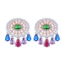 SisCathy Handmade New Design Full Cubic Zirconia Earrings For Women Fashion Bohemia Bridal Wedding Luxury Noble Stud Earring