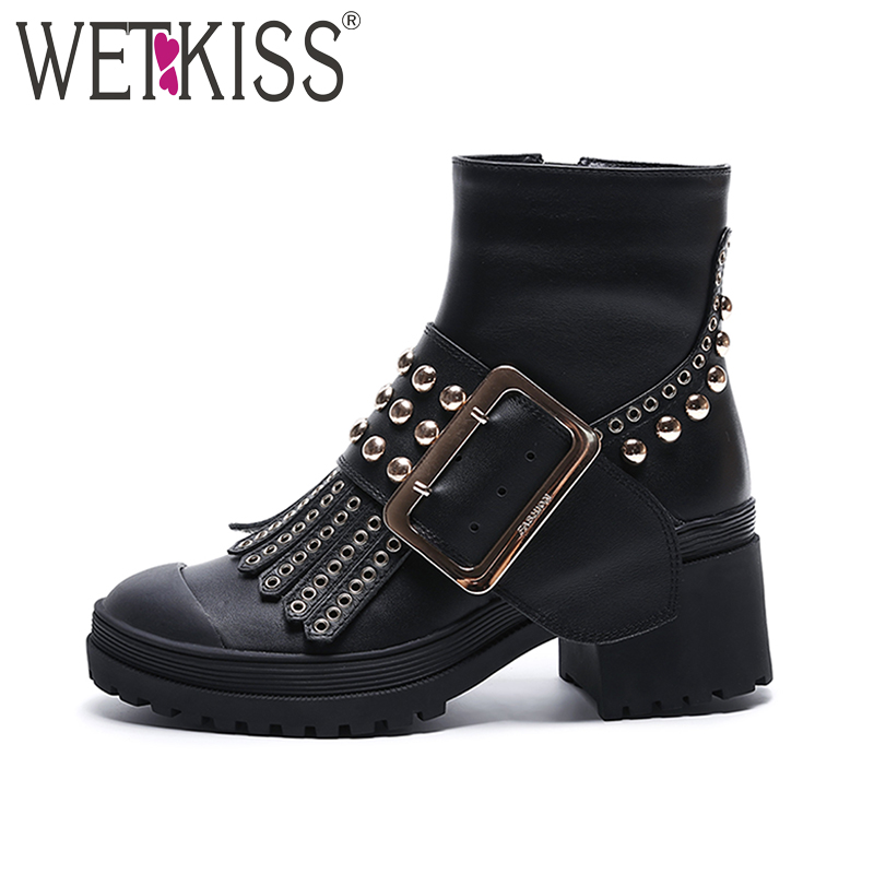 WETKISS 2017 Brand Design Shoes Women Genuine Leather Cool Rivet Buckle Strap Motorcycle Boots Ankle Boots Zipper Square Heels wetkiss genuine leather cool motorcycle boots women street buckle strap rivets zip female boots low heels autumn winter boots