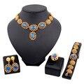 Fashion18K Banhado A Ouro Zircão Beads Africanos conjuntos de jóias Nupcial Do Casamento Conjuntos de Jóias de cristal na moda conjunto de jóias para as mulheres