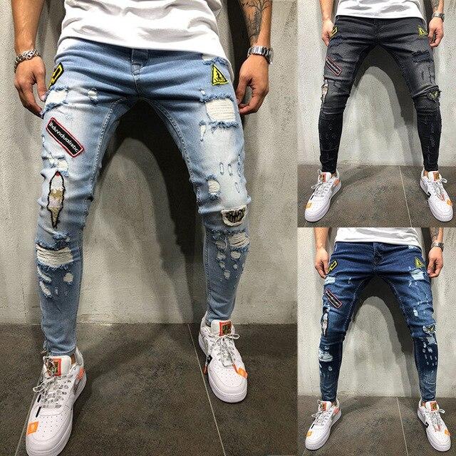 ג 'ינס גברים האופנה Streetwear גברים של היפ הופ ג' ינס בציר כחול אפור צבע סקיני נהרס Ripped ג 'ינס שבורה פאנק מכנסיים homme