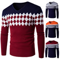 2016 Casual Cotton Men Winter Pullover V Neck Sweater Knitted Geometric Christmas Top Clothing Overcoat Kaschmir Pullover Herren