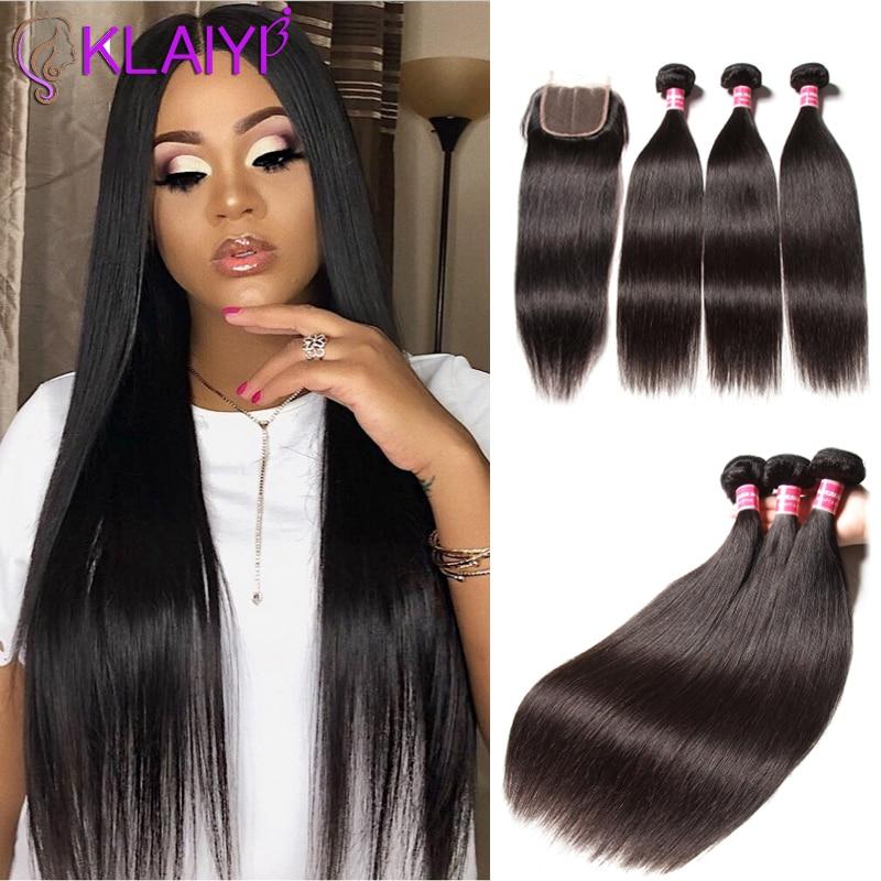 Klaiyi feixes de cabelo liso malaio com fechamento 100% extensão do cabelo humano 3 pacotes com fechamento remy cabelo freeshipping