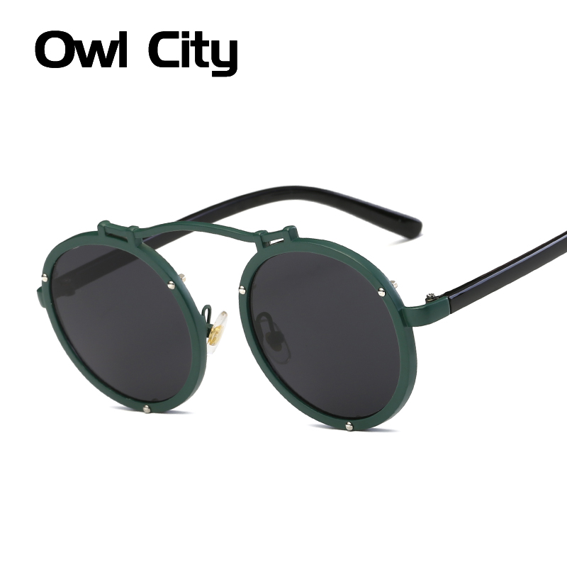 Owl City Gothic Sunglasses Women Men Steampunk Brand Designer Sun Glasses Retro Round Female Eyewear for Male Vintage Sunglass