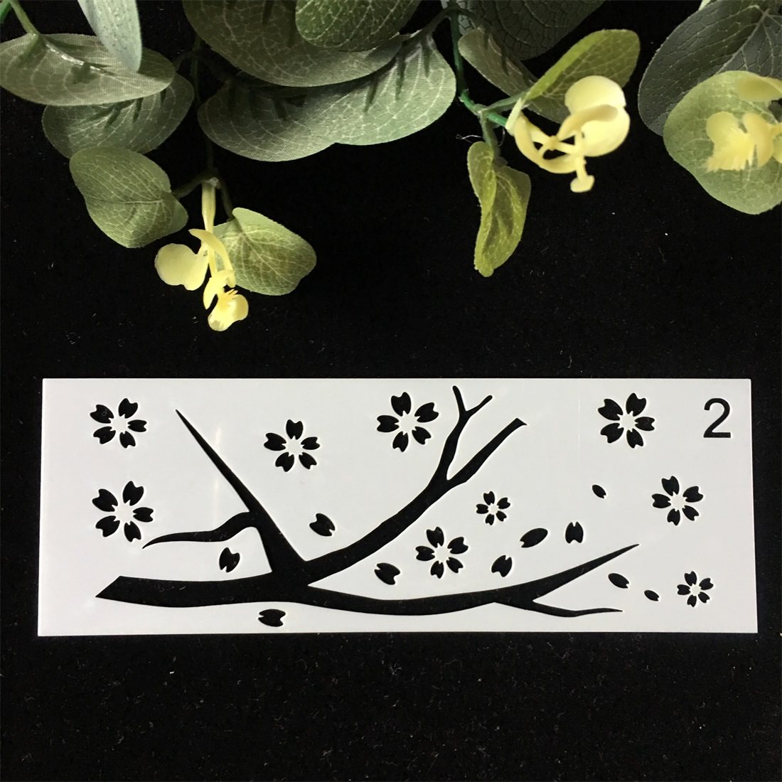 1Pcs 15x5cm Tree Plum DIY Craft Layering Stencils Wall Paint Scrapbook Stamp Embossing Album Decorative Card Template