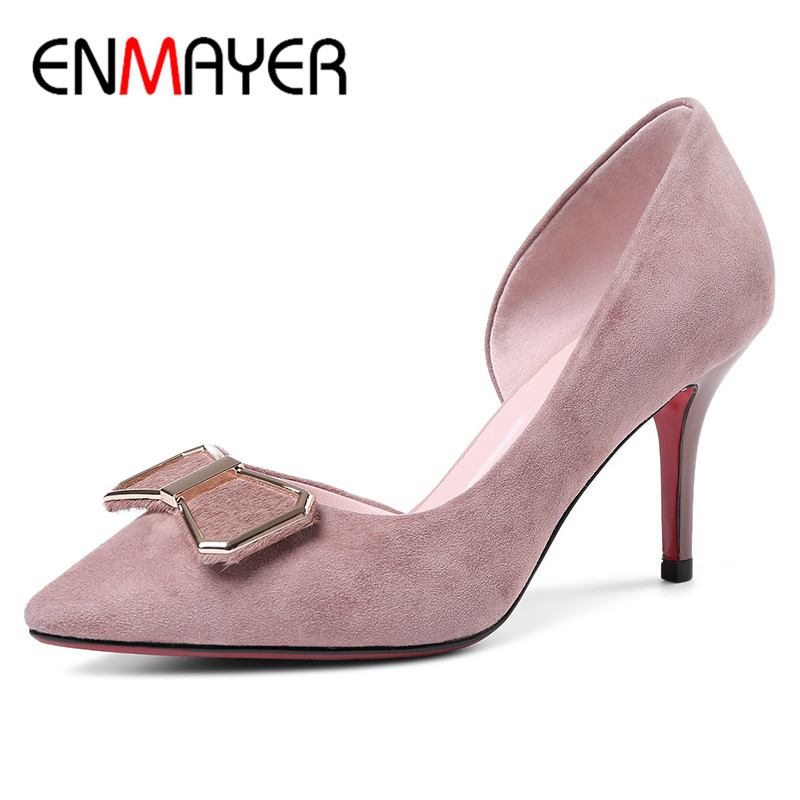 ENMAYER Women Summer Fashion Flock Pumps Shoes Bow Tie Pointed Toe Slip-On Thin Heels Large Size 34-40 Black Pink lady glitter high fashion designer brand bow soft flock plus size 43 leisure pointed toe flats square heels single shoes slip on