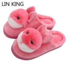 LIN KING/домашние тапочки с нежным кроличьим женские домашние тапочки Нескользящие женские Зимние тапочки, женские, зимние сапоги, из хлопка, для дома, Спальня пол обувь Pantufa