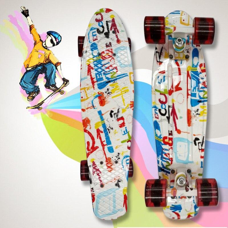 Graffiti Printed 22 Children's Scooter Complete Skateboard Plastic Skate Board for Boy Girl Outdoor Activities waveboard CL61 2016 pastel colored original peny board 22 pnny mini cruiser skateboard board tablas de skate board loaded skateboard complete