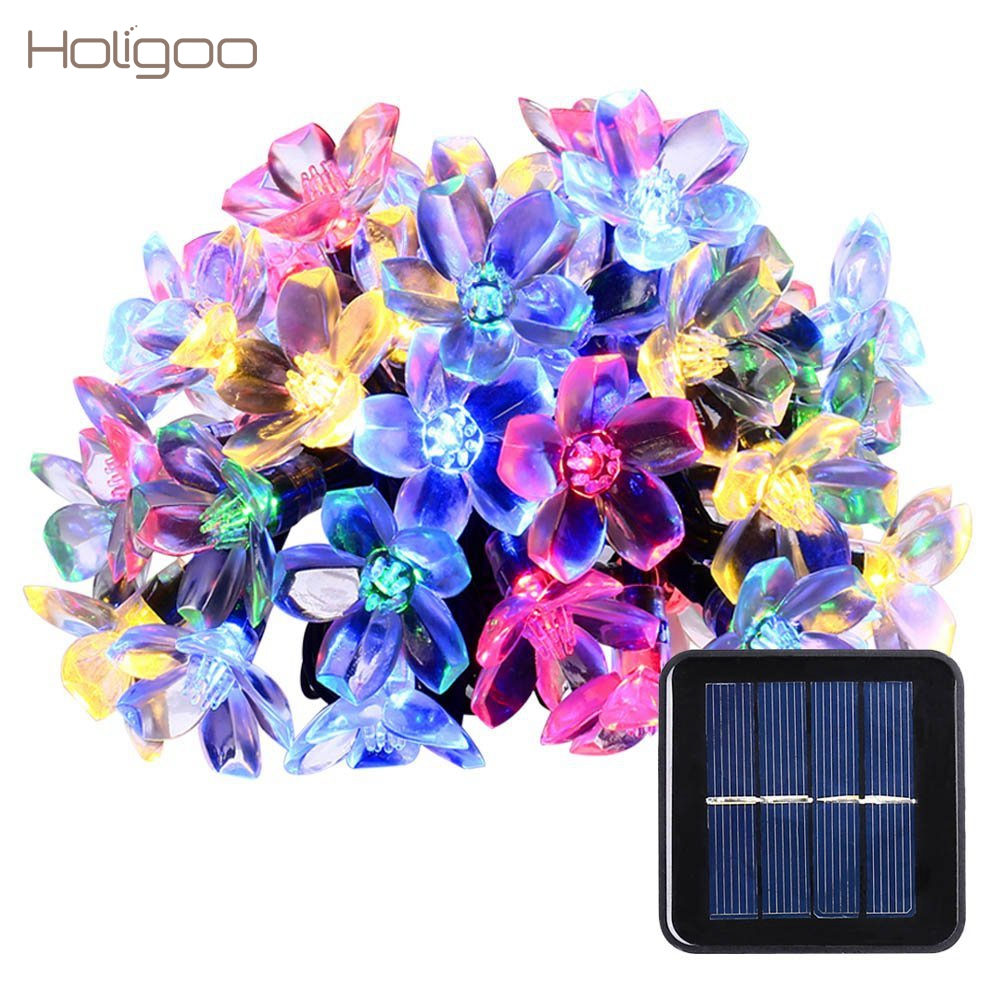Holigoo Solar String Lights 50 Led Blossom Flower Fairy Christmas Lights for Outdoor LED Garland Patio Party Wedding Decoration solar string lights 50 led blossom flower fairy light christmas lights for outdoor led garland patio party wedding decoration