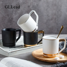 GLLead Nordic Style Fashion Gold Series Ceramic Coffee Mug With Lid And Spoon Office Tea Cup Home Porcelain Drinkware