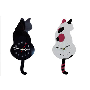 Creative Cute White/Black Wagging Tail Cat Wall Clock for Household Decorative Wall Clocks 2017ing(China)
