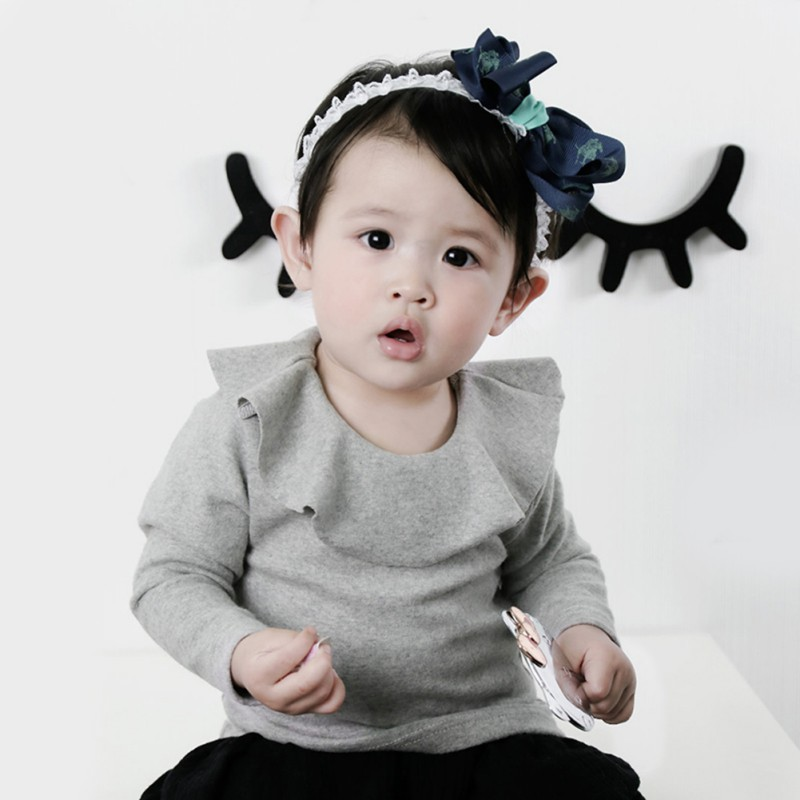 2017 Baby Girl Shirt Fashion Ruffle O Neck Long Sleeve Basic Cotton T-shirt Kids Clothes tiered ruffle cuff tied neck blouse