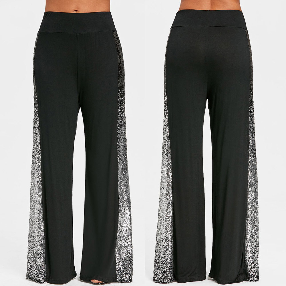 Fashion Womens Casual   Wide     Leg     Pants   Gradient Sequins Insert Maxi Trousers Sequined gradient trousers   wide     leg     pants